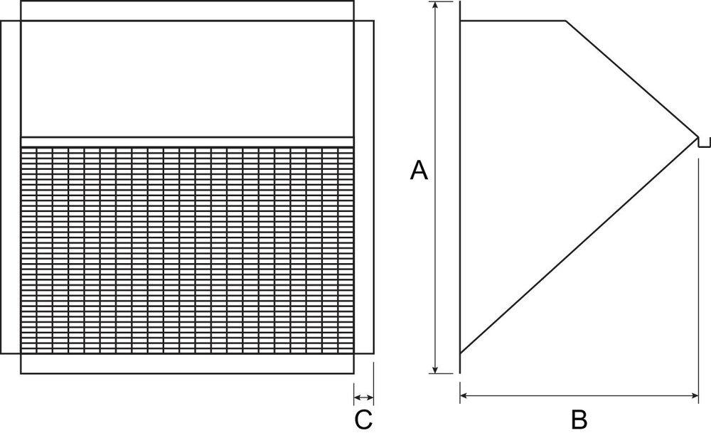 Images Dimensions - 1ACC42WH Weatherhood - Fantech