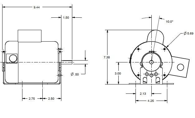 Images Dimensions - MOT BB - 4525 PACKAGED 1/4HP - Fantech