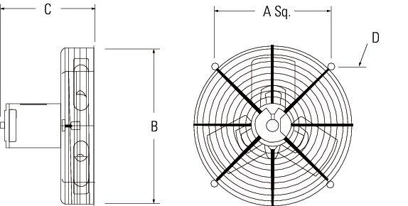 Images Dimensions - 2GMS1221 Guard Mounted Exh Fan - Fantech