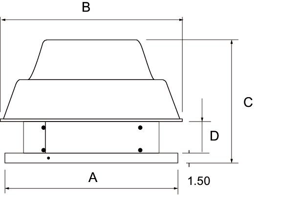 Images Dimensions - 5DDD085A w/BS D/blast Roof Fan - Fantech