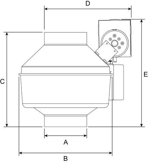 Images Dimensions - DBF 4XL Duct Booster Fan - Fantech