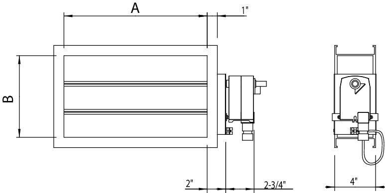 Images Dimensions - EFD 24-8, Damper, TFB24 - Fantech