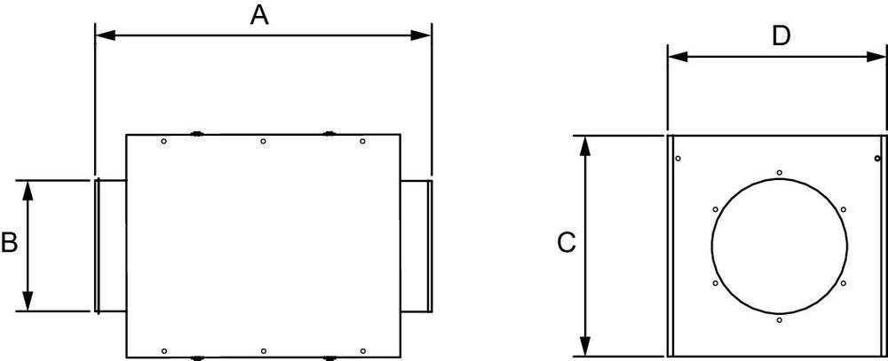Images Dimensions - FGR 12HV Cassette à filtre - Fantech
