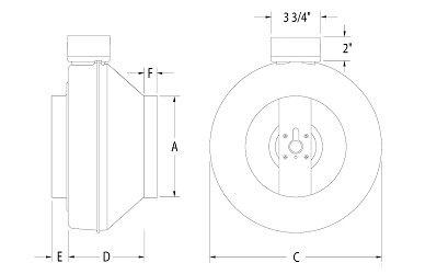 Images Dimensions - PB270HV-2 Bath Fan w/ 1x Hal - Fantech