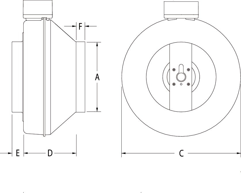 Images Dimensions - FG 10XL Centrifugal Inline Fan - Fantech