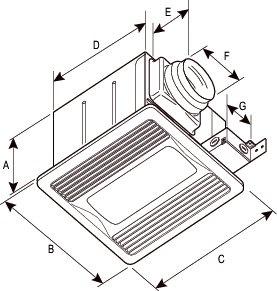 Images Dimensions - FQ 110FL Quiet Ventilating Fan - Fantech
