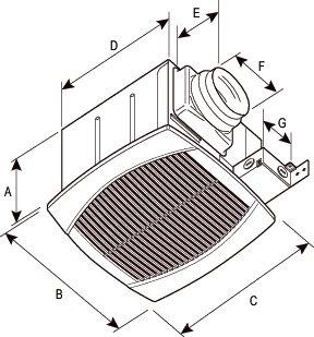 Images Dimensions - FQ80 Ventilateur Silencieux - Fantech