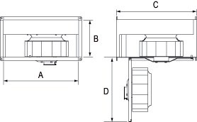 Images Dimensions - FRD 16-8XL 230V Rect. Fan - Fantech
