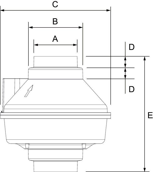Images Dimensions - FR 110 Centrif. Inline Fan - Fantech