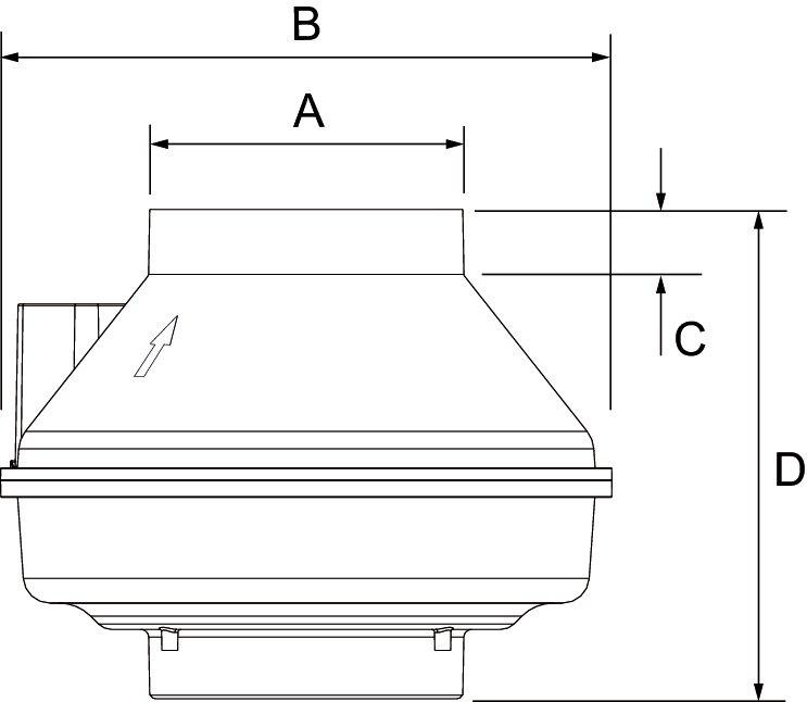 Images Dimensions - FR 140 Centrif Inline Fan - Fantech
