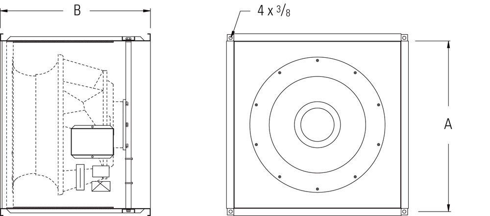 Images Dimensions - FSD 20 Square Inline Fan - Fantech