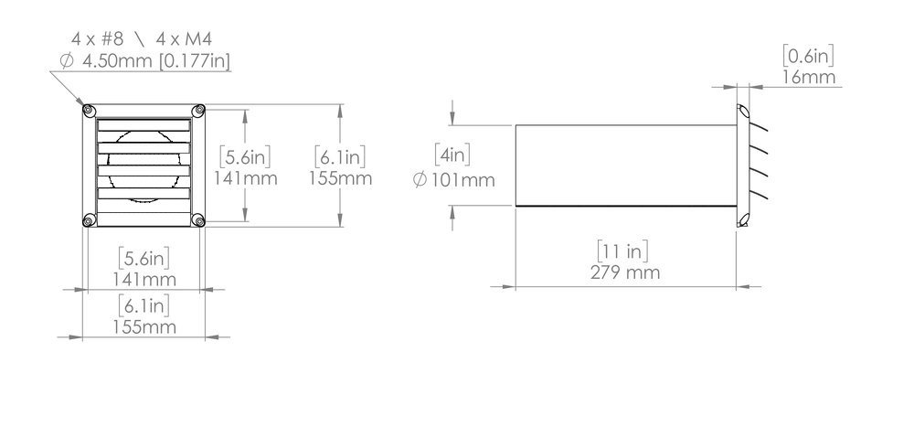 Images Dimensions - HS 4W External Louver Exhaust - Fantech