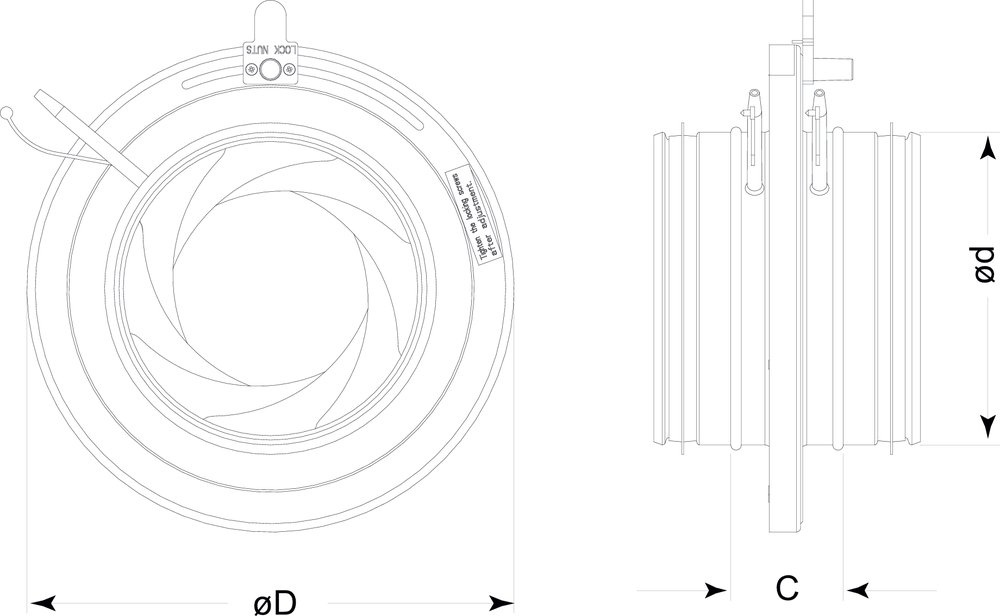 Images Dimensions - IR 8 Iris Damper - Fantech
