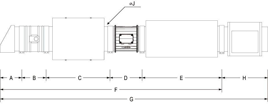 Images Dimensions - MUAS 750 Système d'air d'app - Fantech