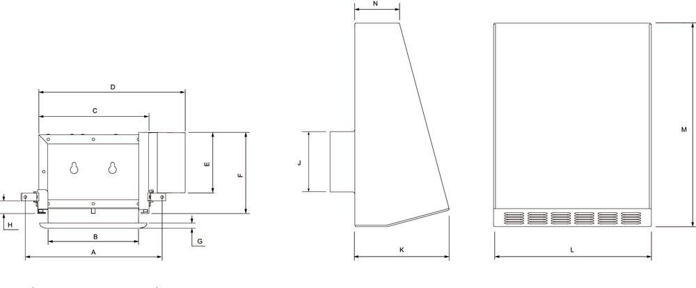 Images Dimensions - PBW 110L7 Bath Fan w/ 1x LED - Fantech