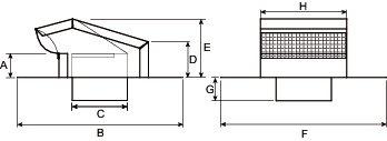 Images Dimensions - RC4P Roof Cap - Fantech