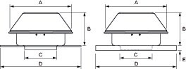 Images Dimensions - RE 54 Ext Roof/Wall Fan - Fantech