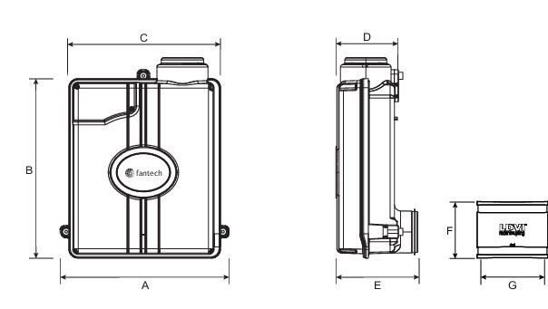 Images Dimensions - Rn2SL Vent pour Radon - Fantech