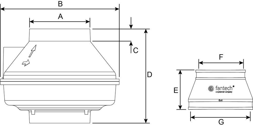 Images Dimensions - Rn4EC-4 Vent pour Radon - Fantech