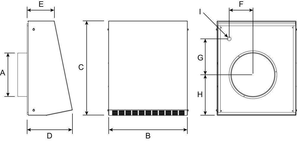 Images Dimensions - RVF 10L Vent Extérieur - Fantech