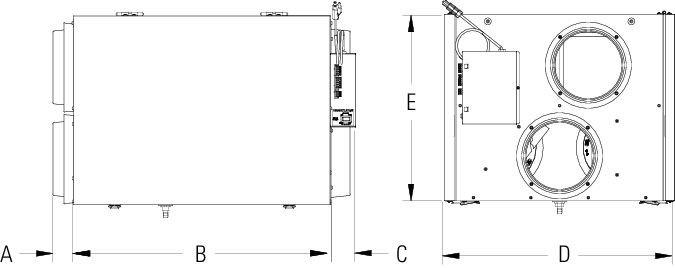 Images Dimensions - SER 260D Fresh Air Appliance - Fantech